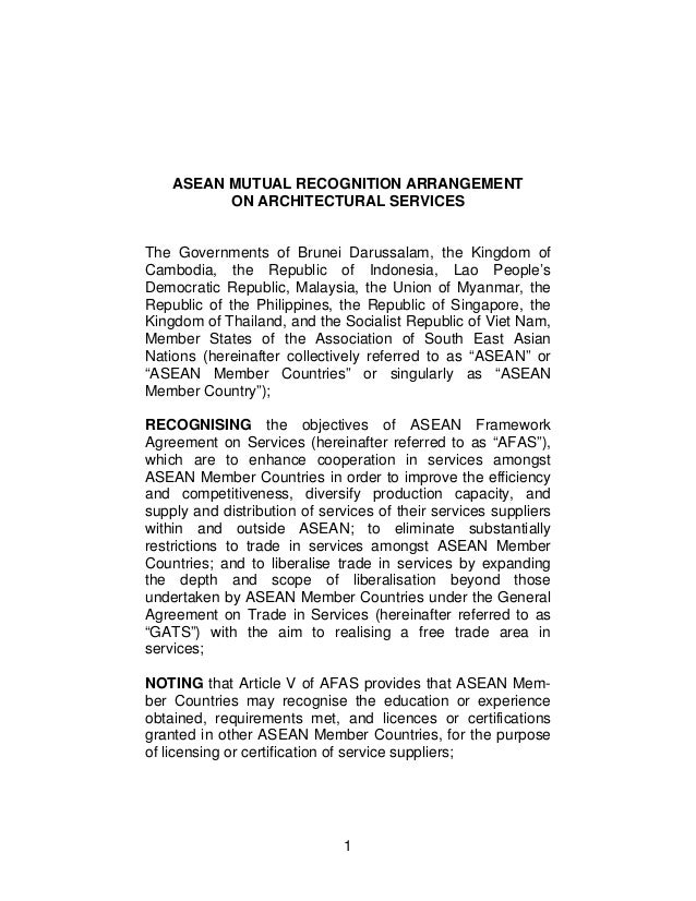mra architectural nov  1 asean mutual recognition arrangement on architectural services the governments of darussalam