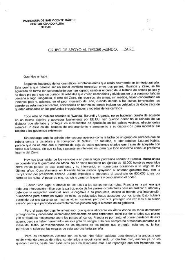 PARROQUÍA DE SAN VICENTE MÁRTIR SECTOR ABANDO-ALBlA BlLBAO  GRUPO DE APOYO AL TERCER MUNDO.  ZAlRE.   Queridos amigos:   S...
