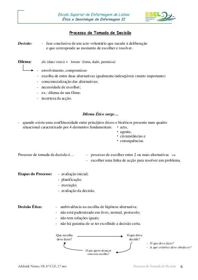 Adelaide Nunes, 191, 8.º CLE, 2.º ano Processo de Tomada de Decisão 6 Escola Superior de Enfermagem de Lisboa Ética e Deon...