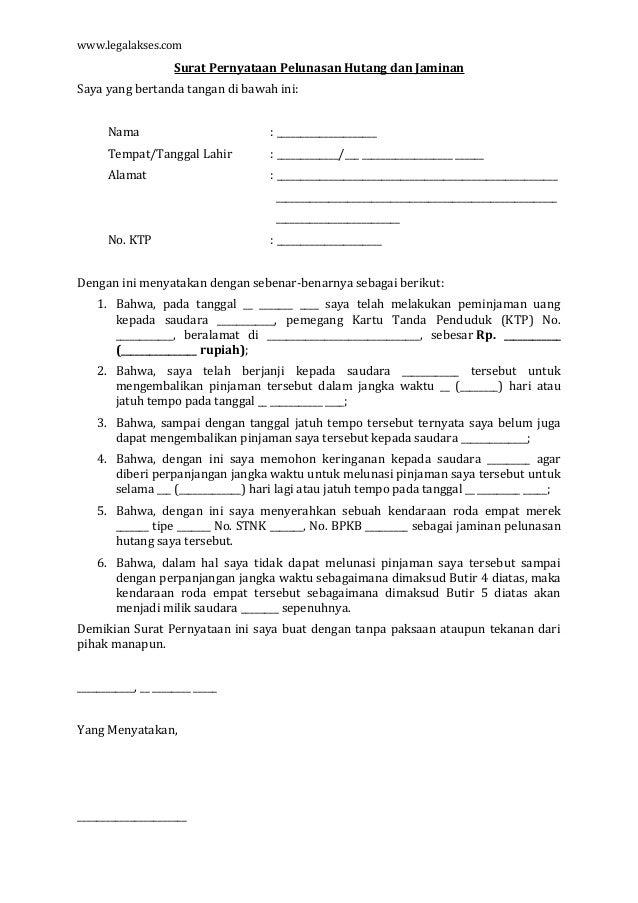 Contoh Surat Pernyataan Hutang Dan Kesanggupan Membayar ...