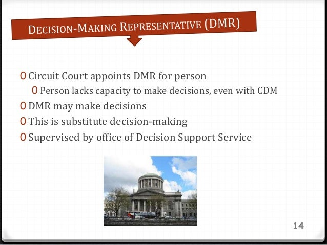 0 Circuit Court appoints DMR for person 0 Person lacks capacity to make decisions, even with CDM 0 DMR may make decisions ...