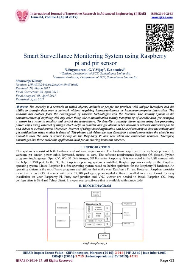 Smart Surveillance Monitoring System using Raspberry pi and pir sens…