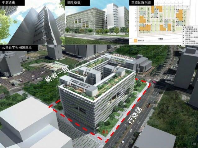 公共住宅與周邊環境 量體模擬中庭透視 A1 空間配置規劃 48