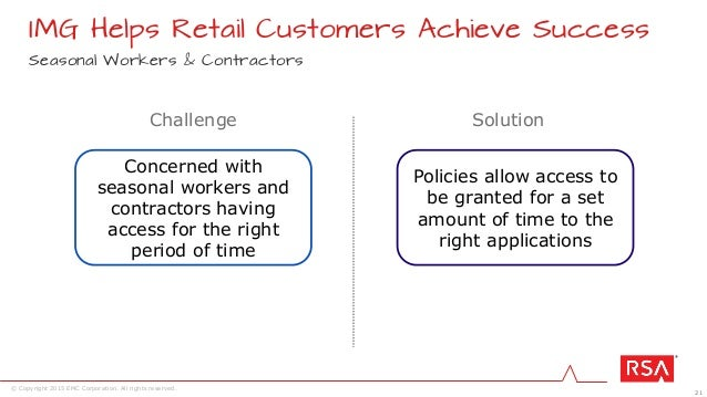 21 © Copyright 2015 EMC Corporation. All rights reserved. Seasonal Workers & Contractors IMG Helps Retail Customers Achiev...