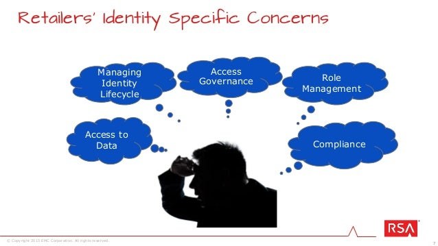 7 © Copyright 2015 EMC Corporation. All rights reserved. Retailers' Identity Specific Concerns Compliance Access to Data R...