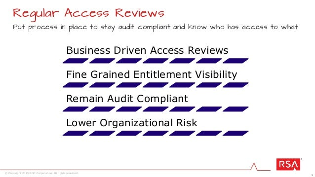 9 © Copyright 2015 EMC Corporation. All rights reserved. Regular Access Reviews Put process in place to stay audit complia...