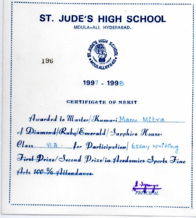 St Judes High School Essay Writing Certificate St Judes High School Essay Writing Certificate