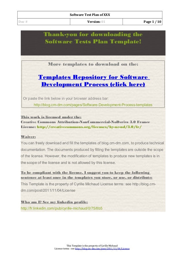 03 software test plan template for Software testing document template