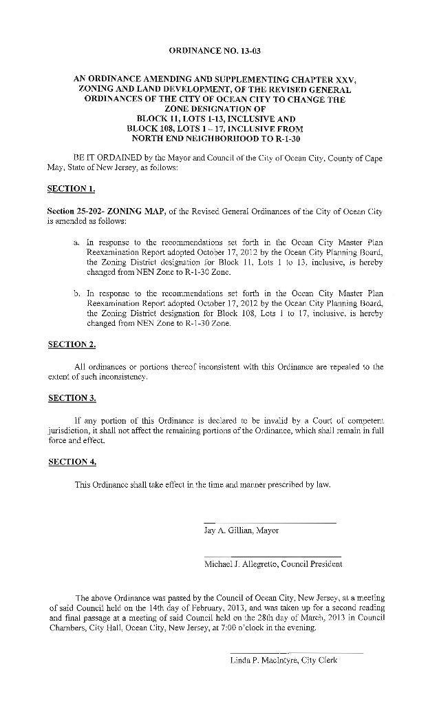 Ocean City Council agenda March 28, 2103