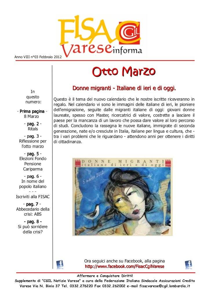 Anno VIII n°03 Febbraio 2012                                                 Otto M a rzo         In                      ...