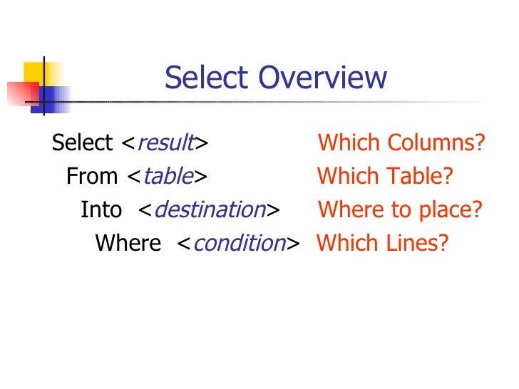 Select Overview <ul><li>Select < result >  Which Columns? </li></ul><ul><li>From < table >  Which Table? </li></ul><ul><li...