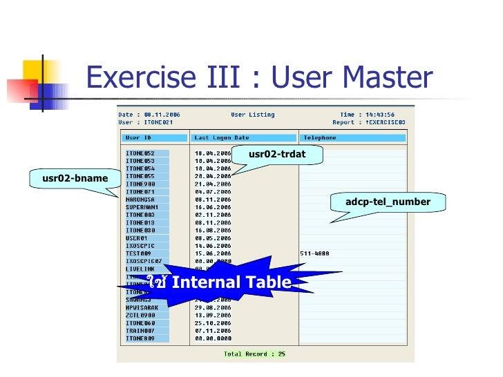 Exercise III : User Master usr02-bname usr02-trdat adcp-tel_number ใช้  Internal Table