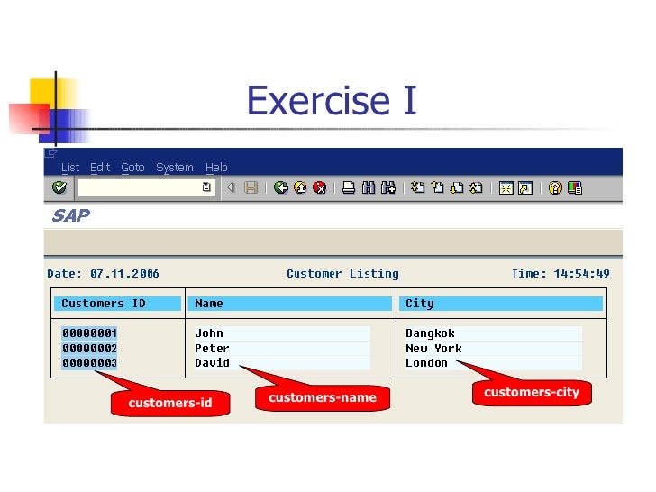 Exercise I  customers-id customers-name customers-city