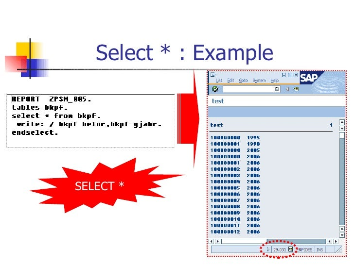 Select * : Example  SELECT *