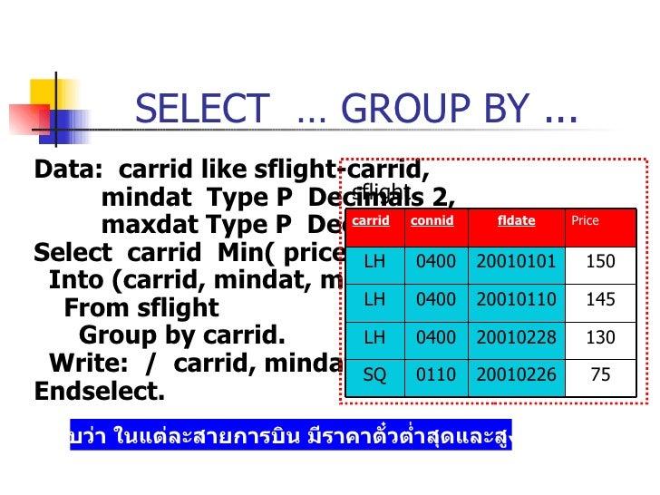 SELECT  … GROUP BY ... <ul><li>Data:  carrid like sflight-carrid, </li></ul><ul><li>mindat  Type P  Decimals 2, </li></ul>...