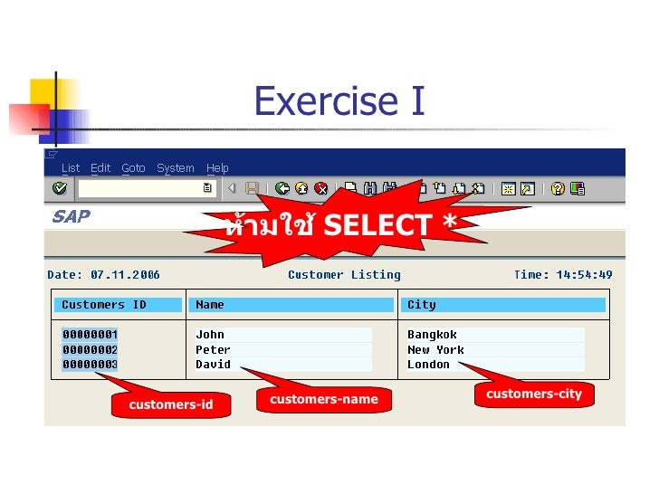 Exercise I customers-id customers-name customers-city ห้ามใช้  SELECT *