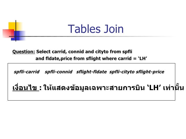Tables Join <ul><li>Question:  Select carrid, connid and cityto from spfli  </li></ul><ul><li>and fldate,price from sfligh...