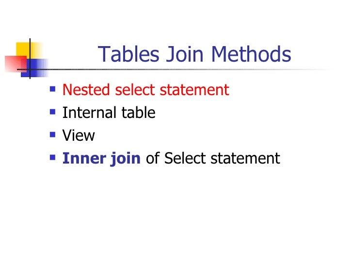 Tables Join Methods <ul><li>Nested select statement </li></ul><ul><li>Internal table </li></ul><ul><li>View </li></ul><ul>...
