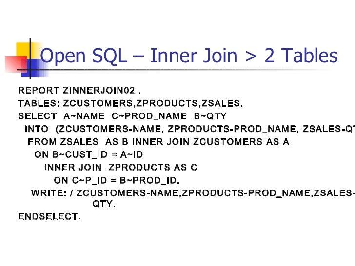 Open SQL – Inner Join > 2 Tables  <ul><li>REPORT ZINNERJOIN02 . </li></ul><ul><li>TABLES: ZCUSTOMERS,ZPRODUCTS,ZSALES. </l...