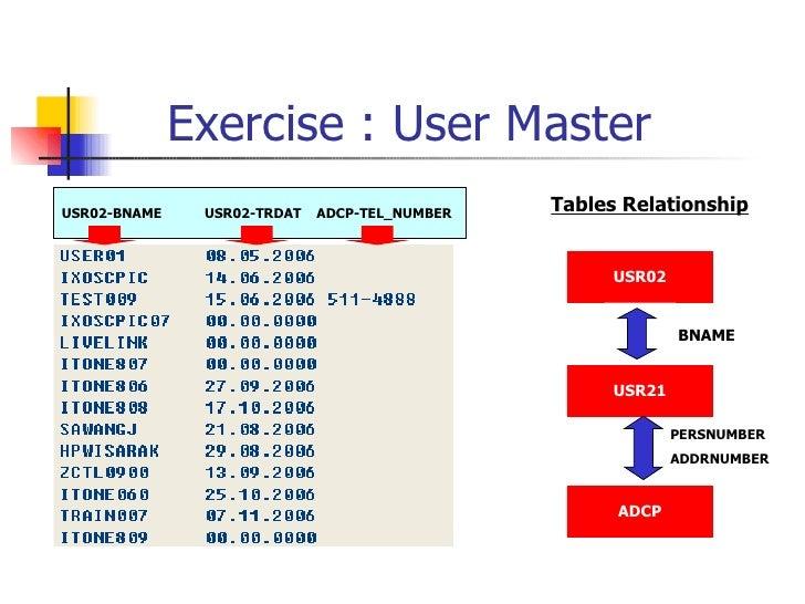 Exercise : User Master USR02-BNAME  USR02-TRDAT  ADCP-TEL_NUMBER USR02 USR21 ADCP BNAME PERSNUMBER ADDRNUMBER Tables Relat...