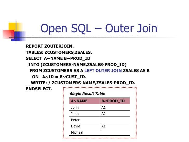 Open SQL – Outer Join <ul><li>REPORT ZOUTERJOIN . </li></ul><ul><li>TABLES: ZCUSTOMERS,ZSALES. </li></ul><ul><li>SELECT  A...