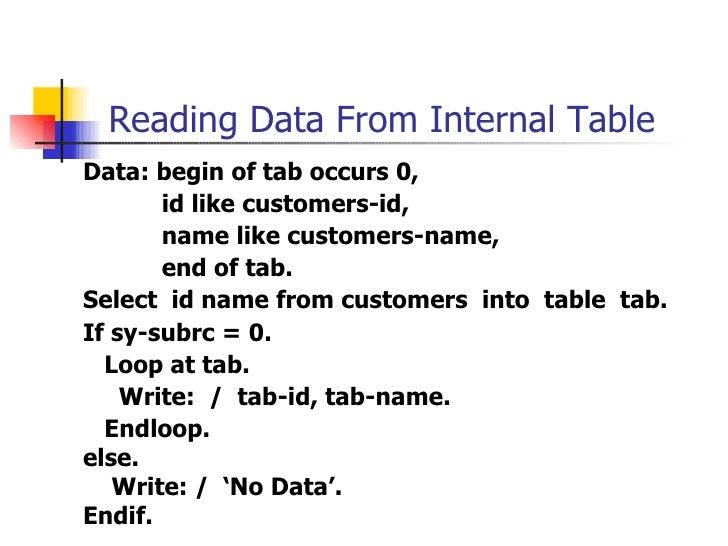 Reading Data From Internal Table <ul><li>Data : begin of  tab occurs 0 , </li></ul><ul><li>id like customers-id, </li></ul...