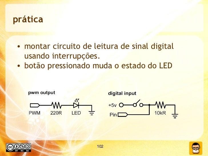 prática <ul><li>montar circuito de leitura de sinal digital usando interrupções. </li></ul><ul><li>botão pressionado muda ...