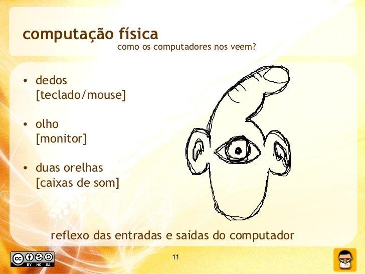 computação física <ul><li>dedos  [teclado/mouse] </li></ul><ul><li>olho  [monitor] </li></ul><ul><li>duas orelhas  [caixas...