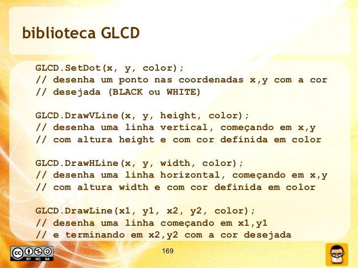 biblioteca GLCD <ul><ul><li>GLCD.SetDot(x, y, color); </li></ul></ul><ul><ul><li>// desenha um ponto nas coordenadas x,y c...