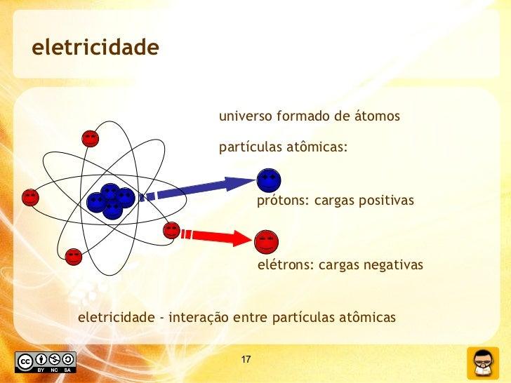 eletricidade <ul><li>eletricidade - interação entre partículas atômicas </li></ul>universo formado de átomos partículas at...