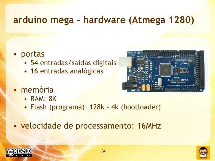 arduino mega – hardware (Atmega 1280) <ul><li>portas </li></ul><ul><ul><li>54 entradas/saídas digitais  </li></ul></ul><ul...