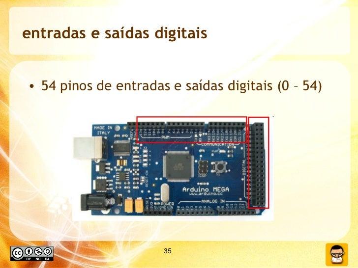 entradas e saídas digitais <ul><li>54 pinos de entradas e saídas digitais (0 – 54) </li></ul>