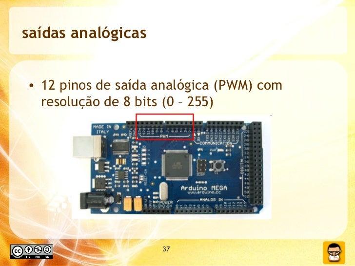 saídas analógicas <ul><li>12 pinos de saída analógica (PWM) com resolução de 8 bits (0 – 255) </li></ul>