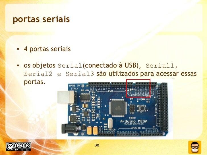 portas seriais <ul><li>4 portas seriais </li></ul><ul><li>os objetos  Serial (conectado à USB),  Serial1, Serial2 e Serial...