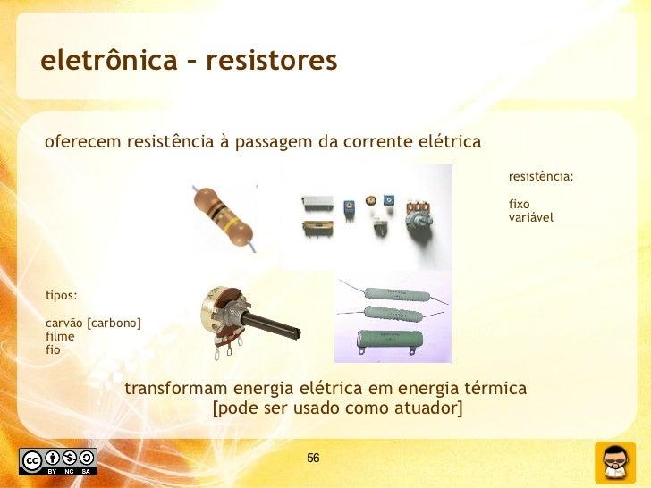 eletrônica – resistores  oferecem resistência à passagem da corrente elétrica transformam energia elétrica em energia térm...