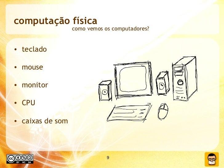 computação física <ul><li>teclado </li></ul><ul><li>mouse </li></ul><ul><li>monitor </li></ul><ul><li>CPU </li></ul><ul><l...