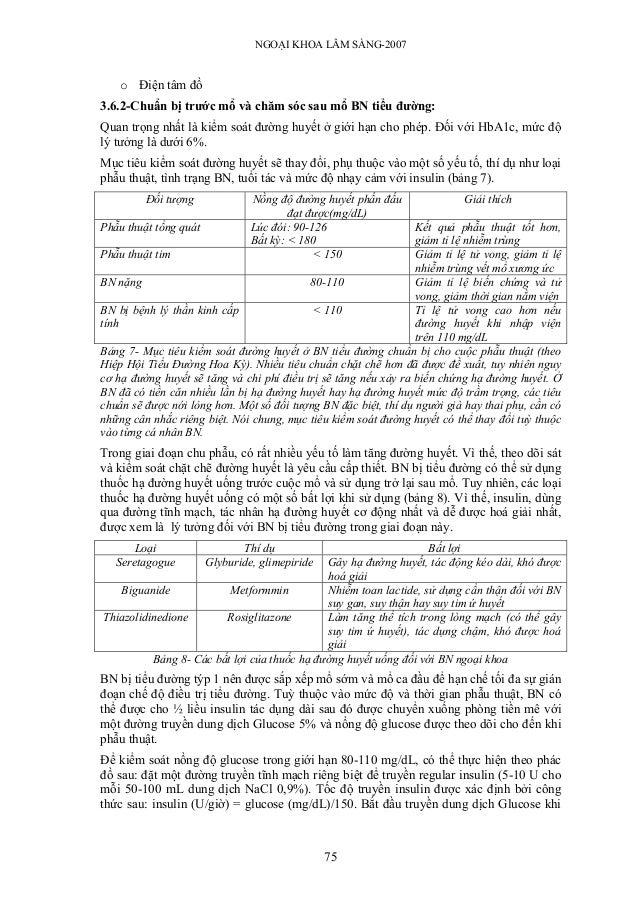 NGOẠI KHOA LÂM SÀNG-2007   o Điện tâm đồ3.6.2-Chuẩn bị trước mổ và chăm sóc sau mổ BN tiểu đường:Quan trọng nhất là kiểm s...