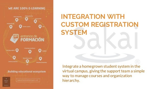INTEGRATION WITH CUSTOM REGISTRATION SYSTEM Integrate a homegrown student system in the virtual campus, giving the support...