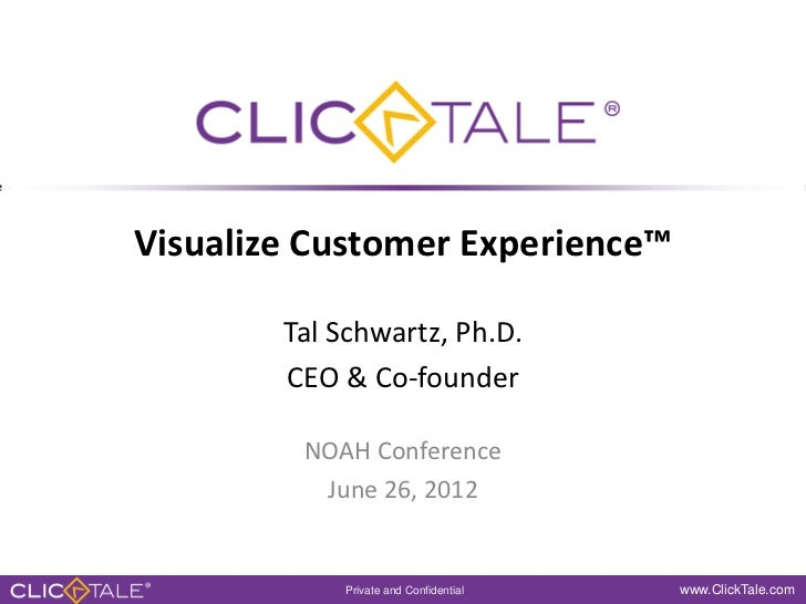 Visualize Customer Experience™        Tal Schwartz, Ph.D.        CEO & Co-founder         NOAH Conference          June 26...