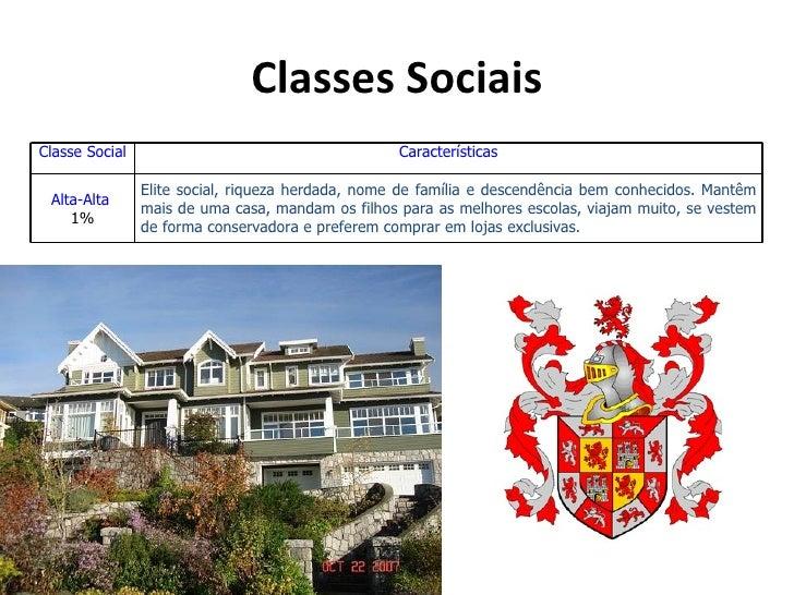 Classes SociaisClasse Social                                      Características                Elite social, riqueza her...