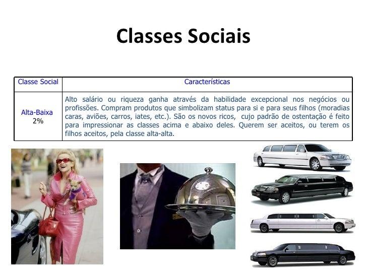 Classes SociaisClasse Social                                        Características                Alto salário ou riqueza...