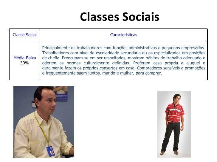 Classes SociaisClasse Social                                     Características                Principalmente os trabalha...