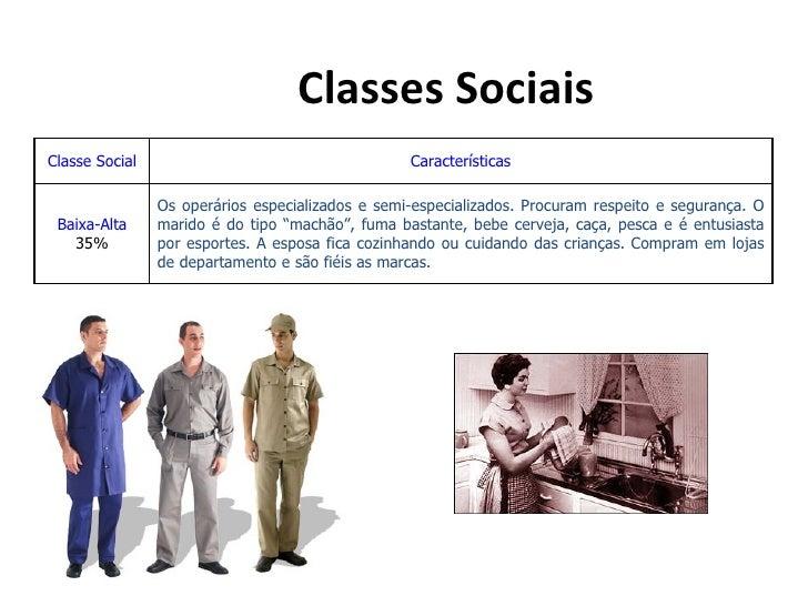Classes SociaisClasse Social                                     Características                Os operários especializado...