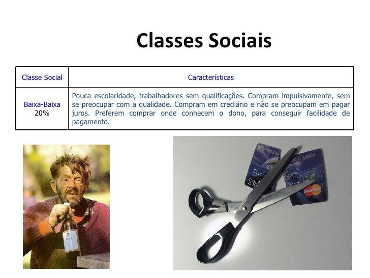 Classes SociaisClasse Social                                    Características                Pouca escolaridade, trabalh...