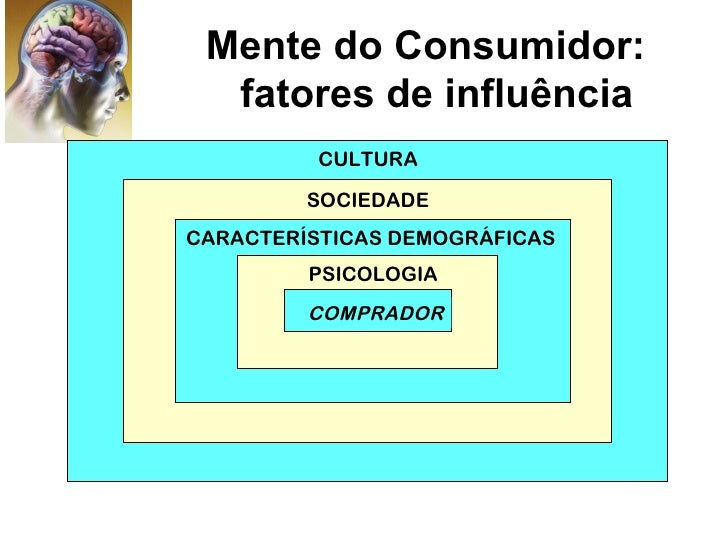Mente do Consumidor:  fatores de influência          CULTURA         SOCIEDADECARACTERÍSTICAS DEMOGRÁFICAS         PSICOLO...