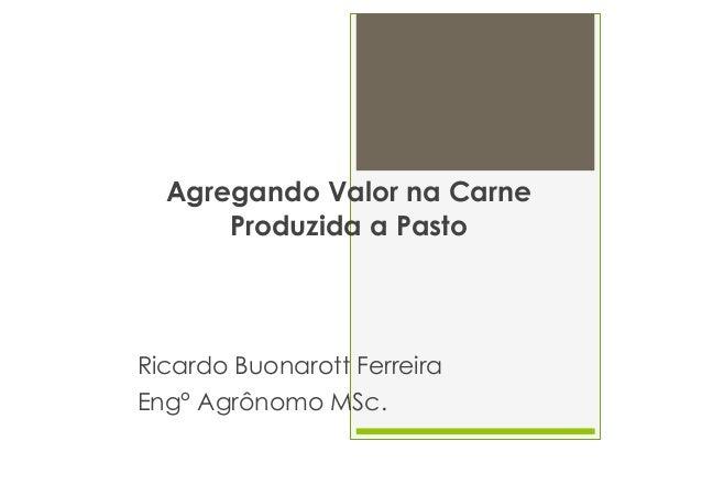 Agregando Valor na Carne Produzida a Pasto  Ricardo Buonarott Ferreira Eng° Agrônomo MSc.
