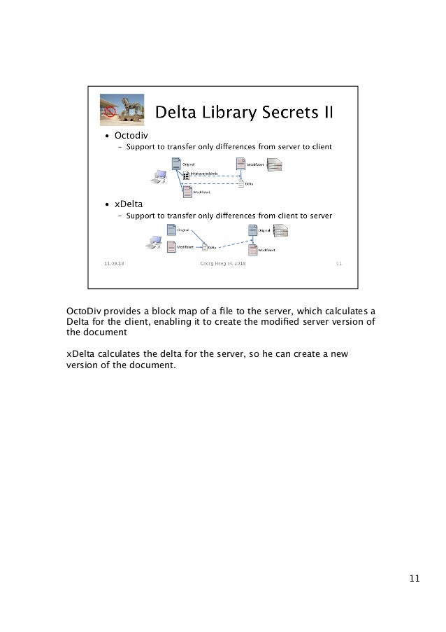 OctoDiv provides a block map of a file to the server, which calculates a Delta for the client, enabling it to create the mo...