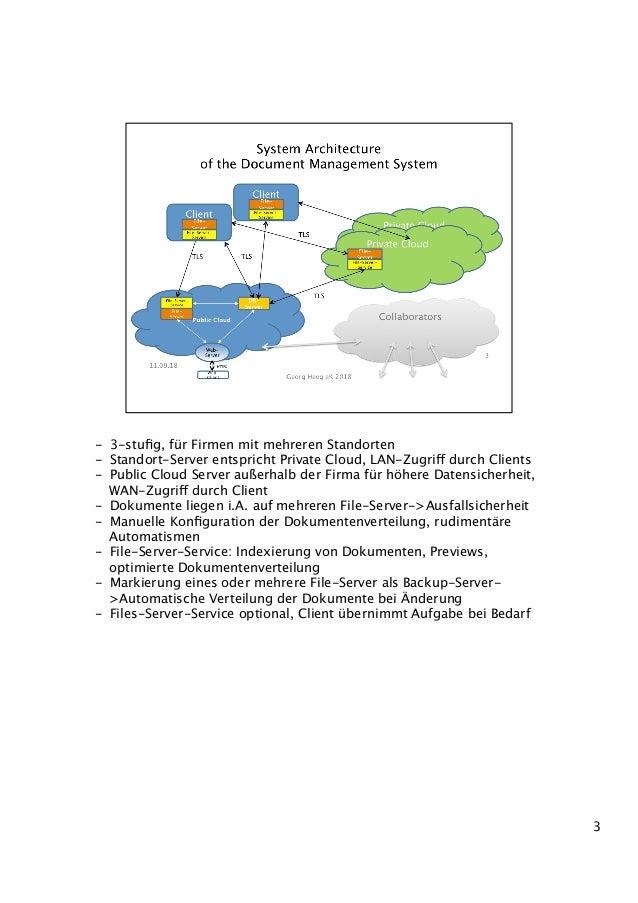 - 3-stufig, für Firmen mit mehreren Standorten - Standort-Server entspricht Private Cloud, LAN-Zugriff durch Clients - P...