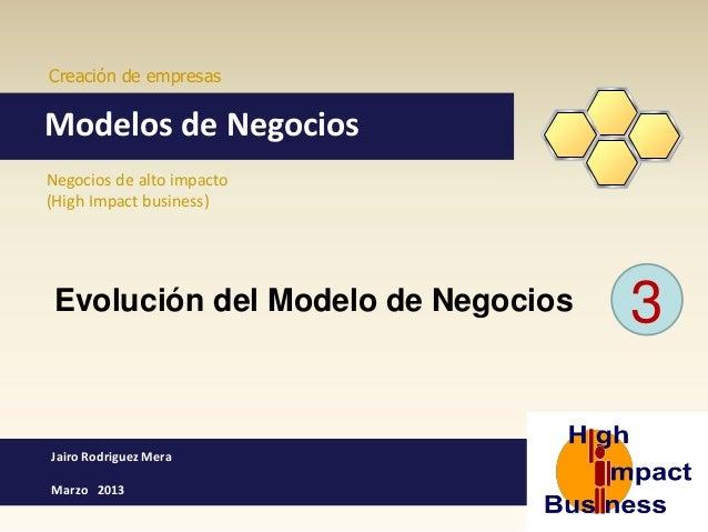 Creación de empresas  Modelos de Negocios Negocios de alto impacto (High Impact business)  Evolución del Modelo de Negocio...