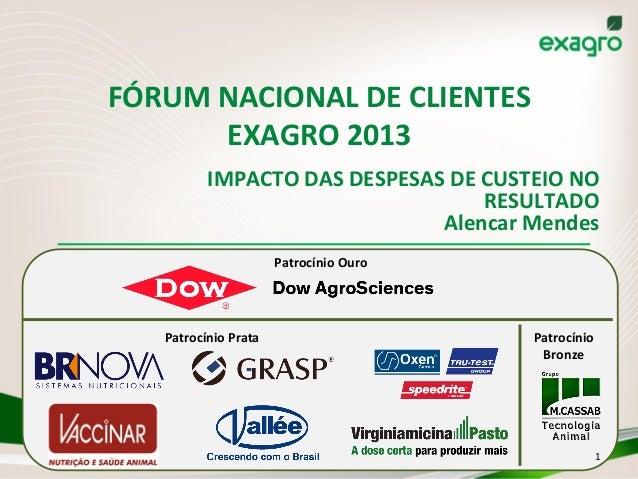 FÓRUM  NACIONAL  DE  CLIENTES   EXAGRO  2013   IMPACTO  DAS  DESPESAS  DE  CUSTEIO  NO   RESULTADO...